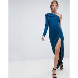 NWT ASOS Asymmetrical Turquoise Zippered Dress
